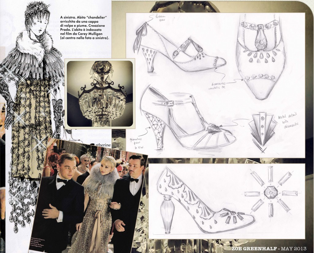 The Great Gatsby: Dress design by Prada and scene from the film (both taken from Elle Italia), chandelier photo taken in my bathroom(!) and sketches my own...
